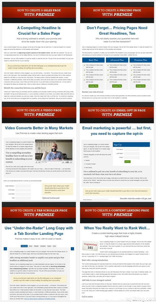 premise wordpress landing pages