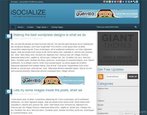 isocialize wordpress theme