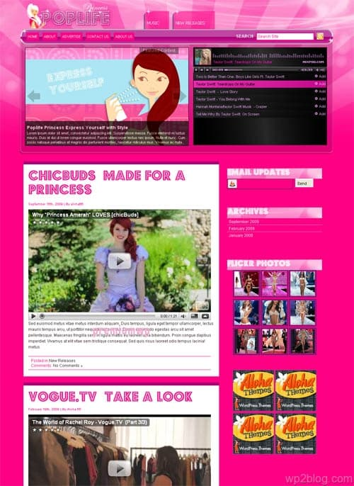 PopLife Princess Premium WordPress Theme
