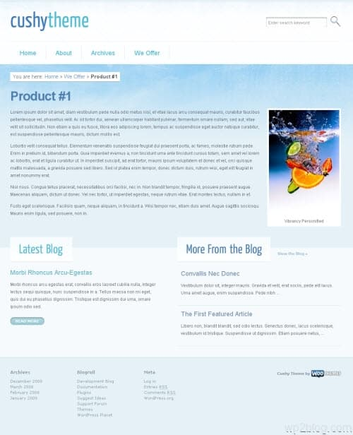 cushy wordpress theme