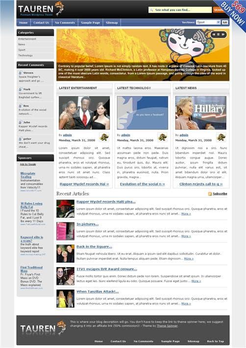 Tauren Pro WordPress Theme