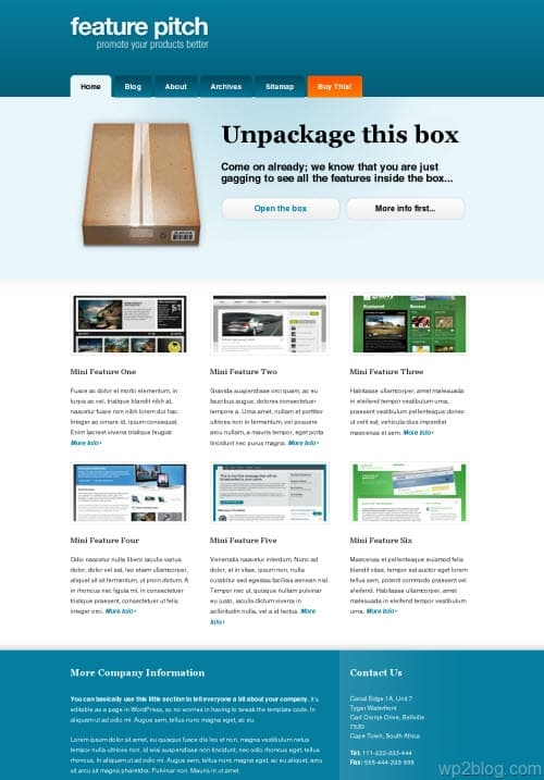 feature pitch wordpress theme