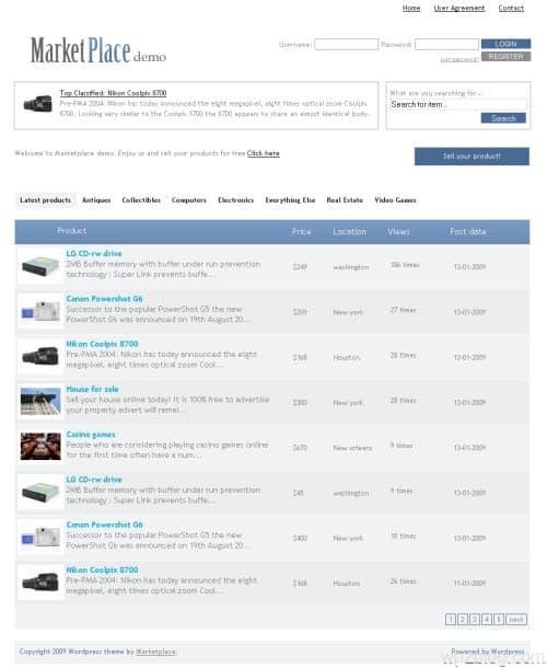 marketplace wordpress theme