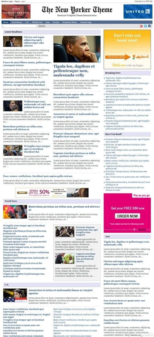 New Yorker 3 Premium WordPress Theme