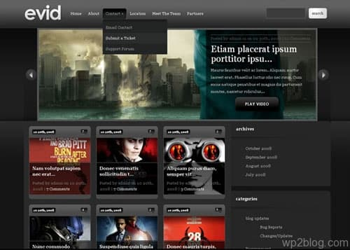 evid dark wordpress theme