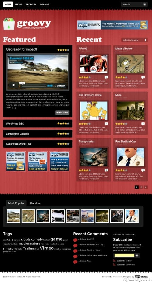 groovy video wordpress theme