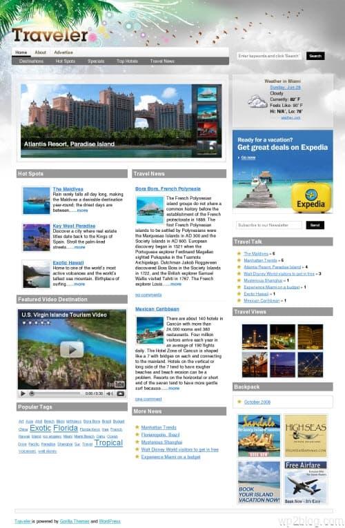 traveler wordpress magazine theme