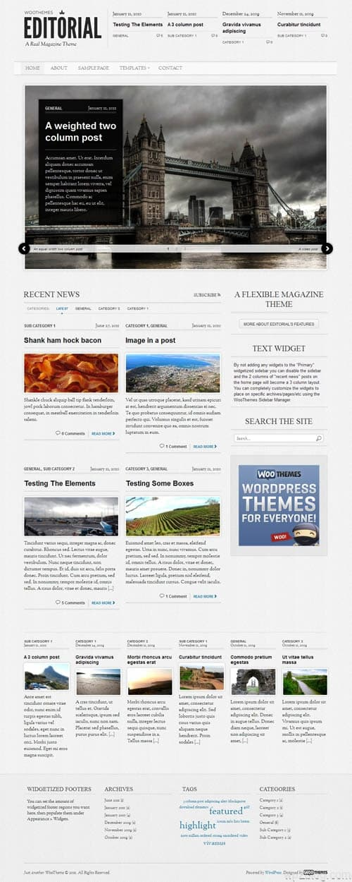 Editorial Magazine WordPress Theme