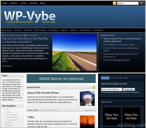 wp-vybe wordpress theme