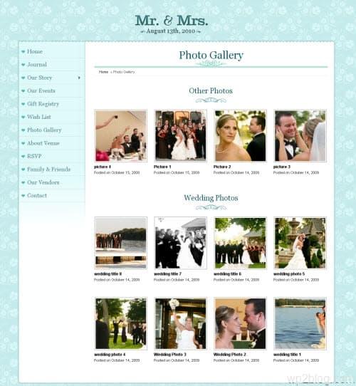 mr and mrs wedding wordpress theme