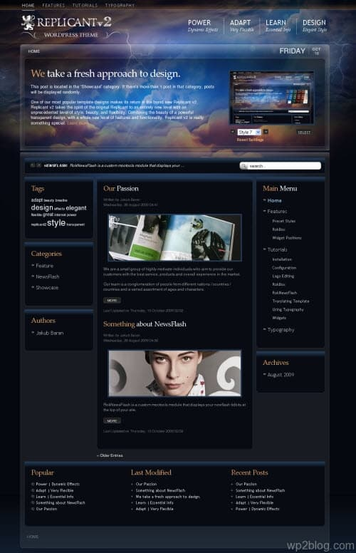replicant v2 wordpress theme