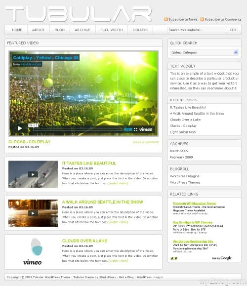 tubular light wordpress theme