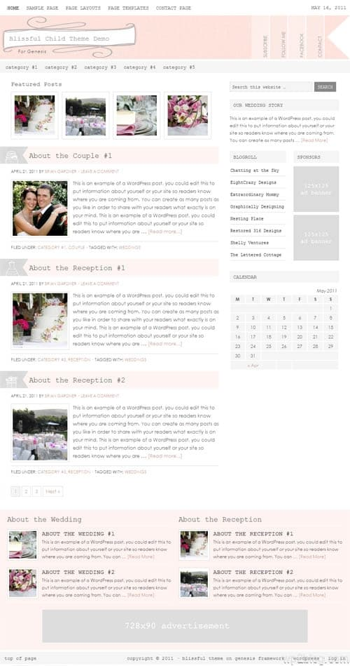 Blissful Wedding WordPress Theme