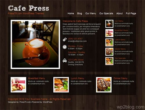 cafe press 2.0 wordpress theme