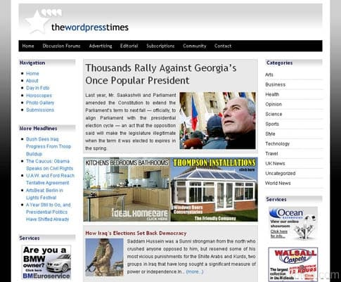 WordPress times theme