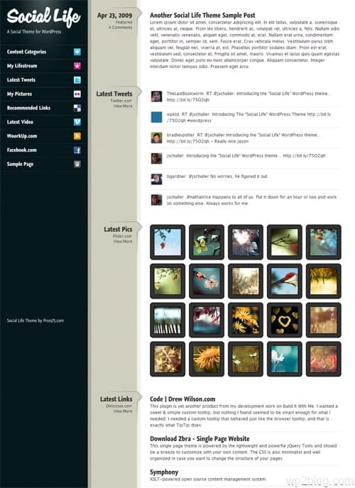 social life wordpress theme