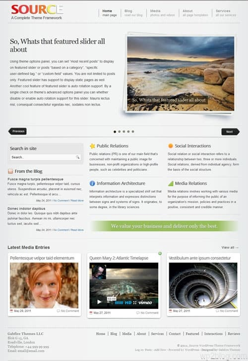 source wordpress theme