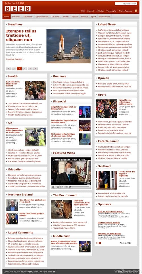 the beeb wordpress theme