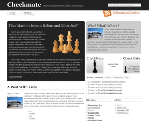 Checkmate wordpress theme