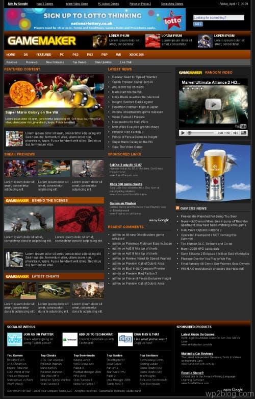 gamemaker wordpress theme