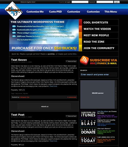 Deep Blue WordPress Theme
