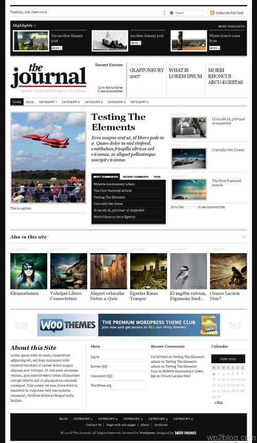 the journal WordPress premium theme from WooThemes