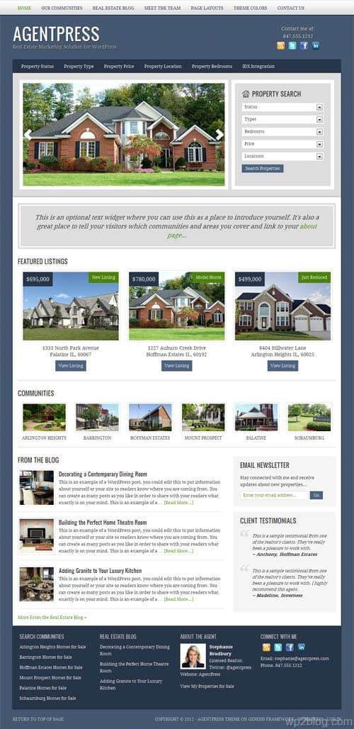 AgentPress 2.0 WordPress Real Estate Theme