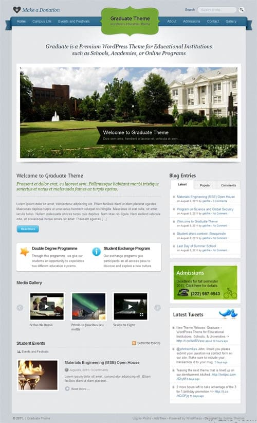 Graduate WordPress Education Theme