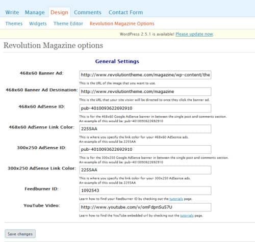 Revolution Magazine Options Page
