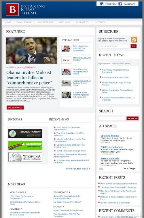Breaking News Premium WordPress Theme