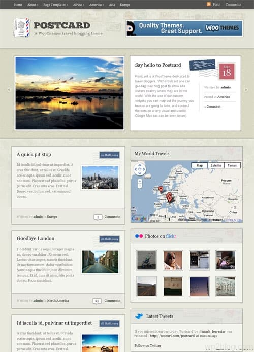postcard travel wordpress theme