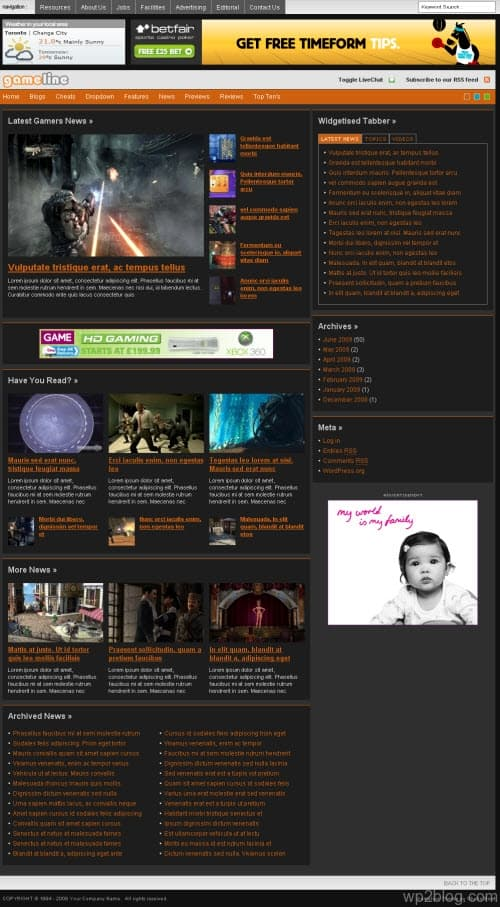 gameline wordpress theme
