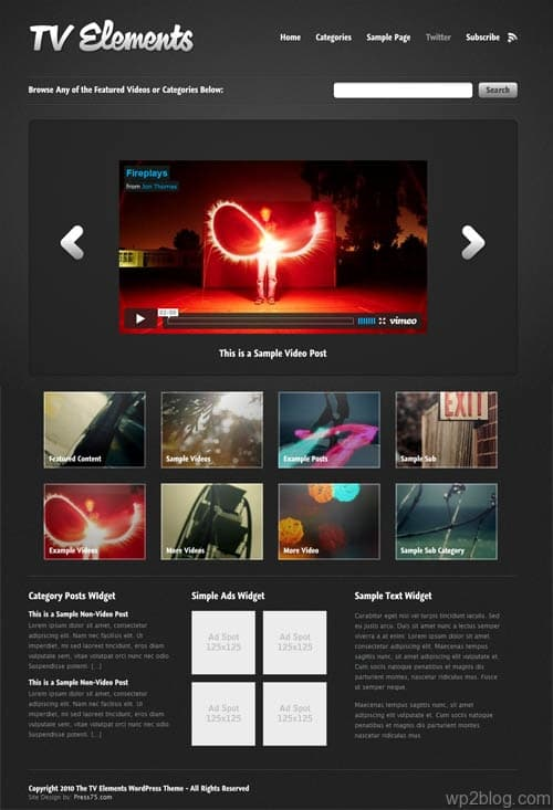 tv elements video wordpress theme