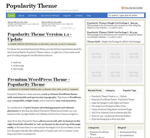 Popularity Premium WordPress Theme