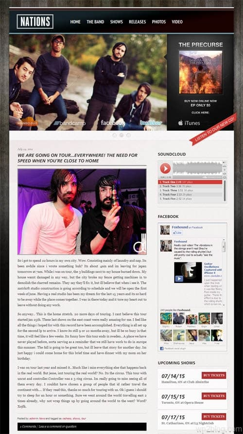Grammy WordPress Band Theme
