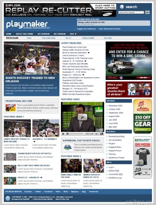 Playmaker wordpress theme