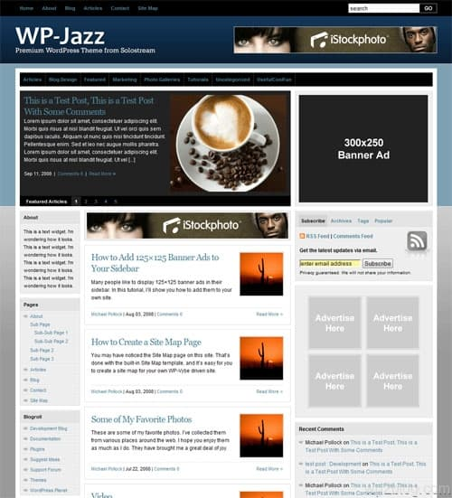 wp jazz wordpress theme solostream