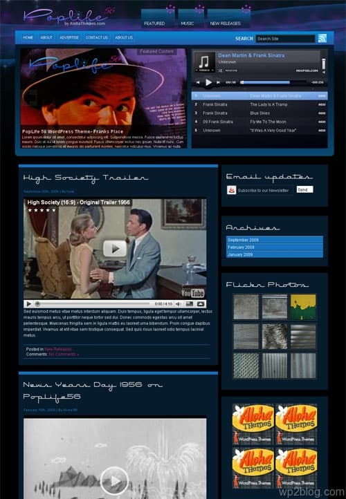 PopLife56 Music WordPress Theme