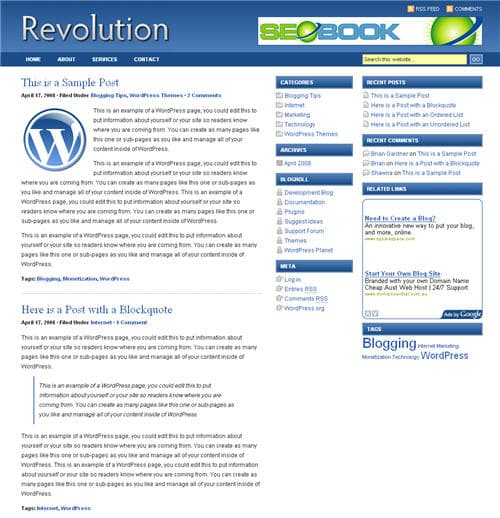 Revolution Blog Theme