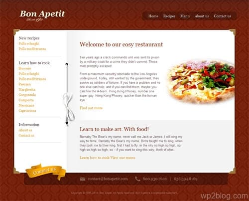 Bon Apetit Restaurant WordPress Theme