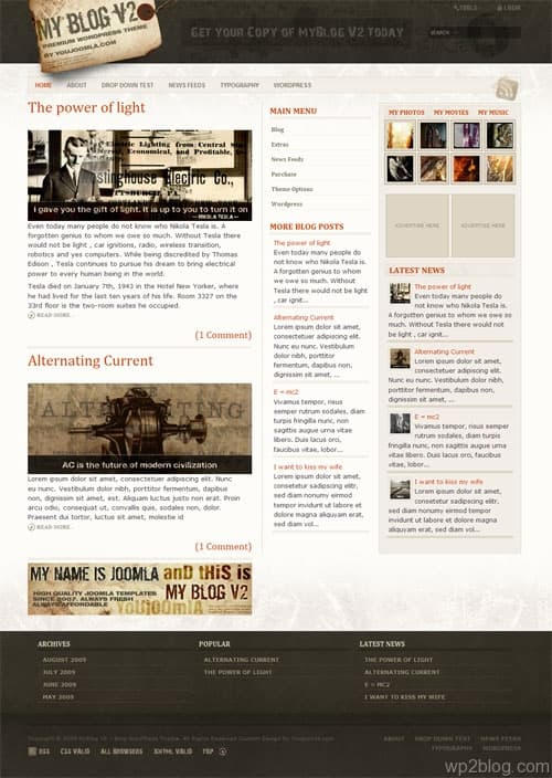 my blog v2 youjoomla wordpress theme