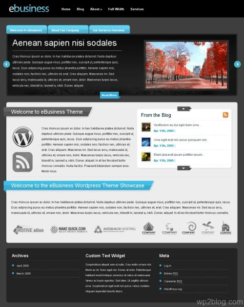 ebusiness wordpress theme elegant themes