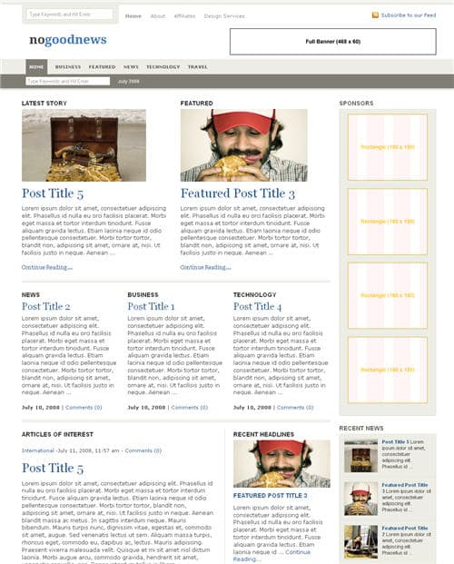 No Good News WordPress Theme