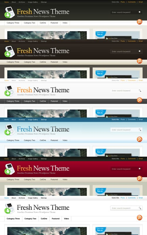 Fresh News Theme Colours