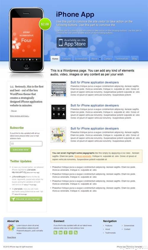 iPhone App Premium WordPress Theme