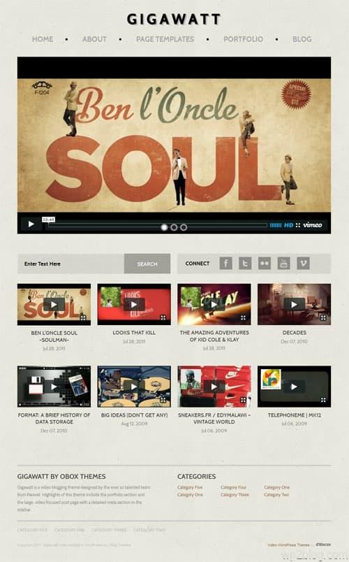 Gigawatt Video Blog WordPress Theme