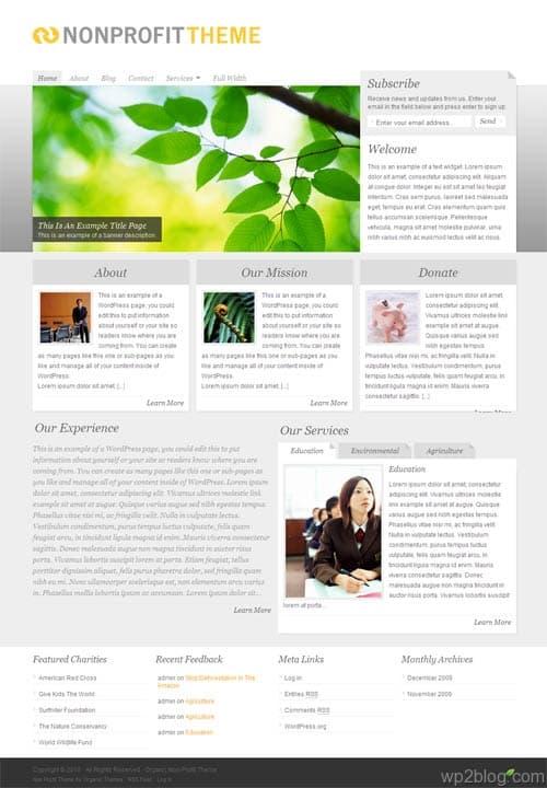 non profit wordpress theme