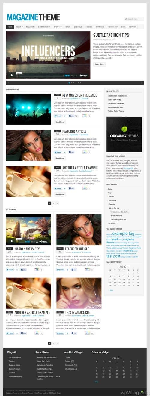 Organic WordPress Magazine Theme 3.0