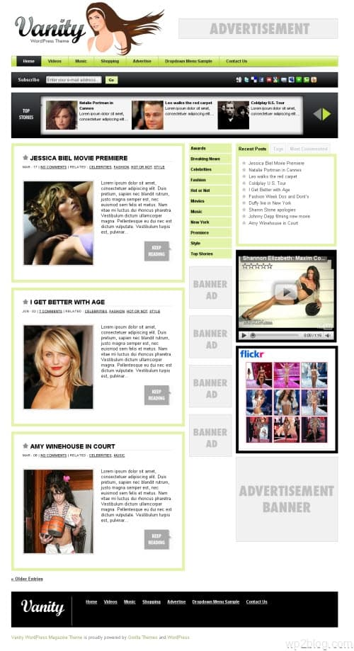 Vanity Magazine 2.0 WordPress Theme
