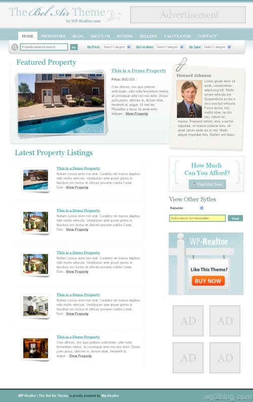 wp realtor bel air wordpress theme